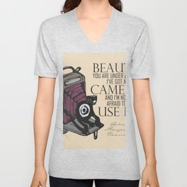 Say Cheese! collection: vintage folding camera Unisex V-Neck
