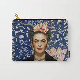 Frida Kahlo with Vintage Medway Tapestry Carry-All Pouch