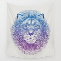 face Wall Tapestries featuring Face of a Lion by Rachel Caldwell