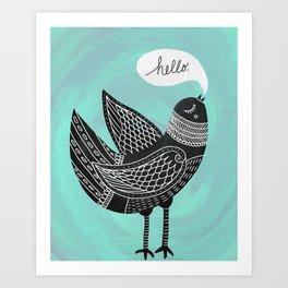 Hello Bird Art Print
