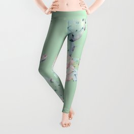 Rose Desert Cactus Mint Green + Pink Leggings