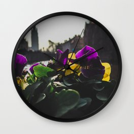 Bruges yellow and purple flowers Wall Clock