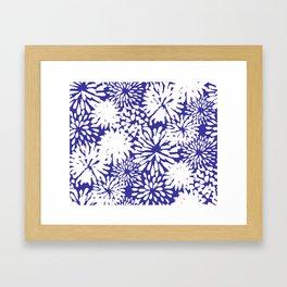 Blue and White Zinnias Toss Framed Art Print