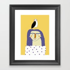 Women and Owl, owl art, people, illustration, fashion, style, Framed Art Print