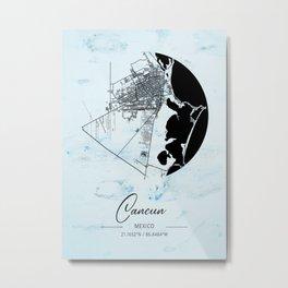 Cancun - Mexico Alpha Watercolor Map Metal Print