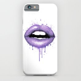lavender Lips Art Watercolor Print Kiss Love Sexy Girl Fashion Poster Lipstick Makeup Decor iPhone Case