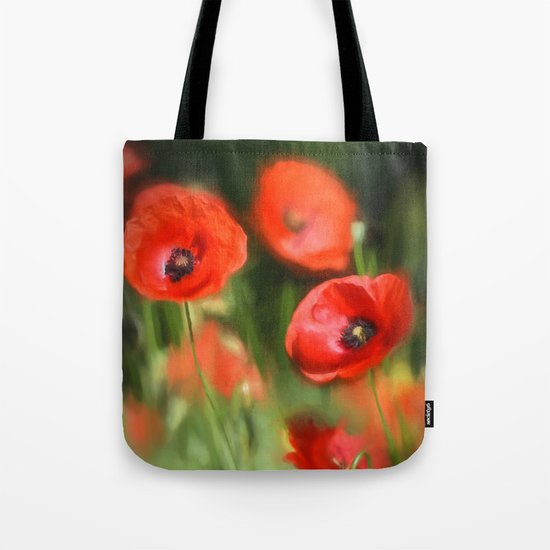 Warmth- Floral Flower Poppies in love- Poppy flowers #Society6 Tote Bag