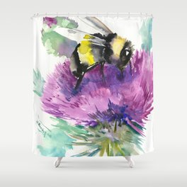 Bumblebee and Thistle Flower, honey bee floral Shower Curtain