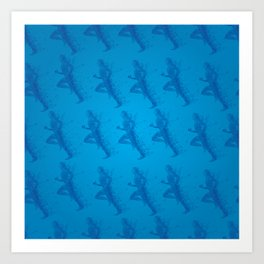 Watercolor running man silhouette background in blue color pattern Art Print