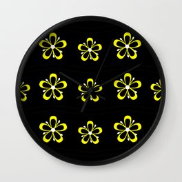 Digital yellow flowers pattern Wall Clock
