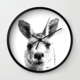 Black and white kangaroo Wall Clock