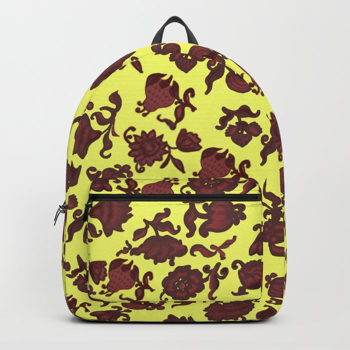 red flowers and leaves . art Backpack