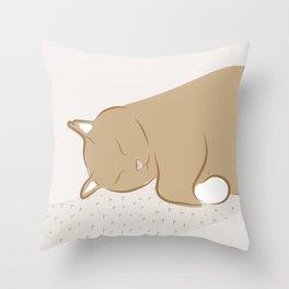Happy Sleepy Kitty Illustration Throw Pillow