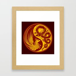 Yellow and Red Dragon Phoenix Yin Yang Framed Art Print