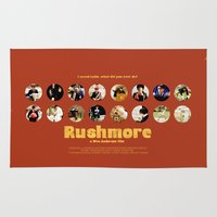 wes anderson Area & Throw Rugs featuring Wes Anderson / Rushmore - The Many Faces of Max Fischer by Isabel
