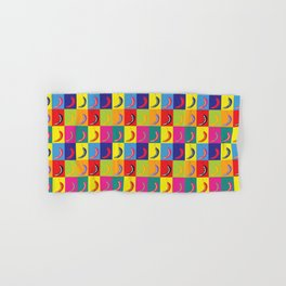 Retro Pop Art Chilli Peppers on Colourful Chequered Squares Hand & Bath Towel