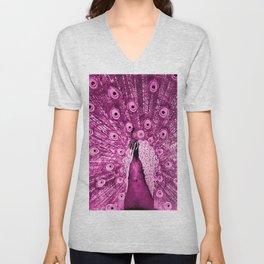 Pink Peacock Unisex V-Neck