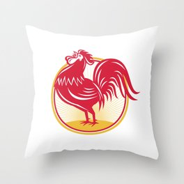 Rooster Cockerel Crowing Retro Throw Pillow