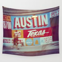 austin Wall Tapestries featuring Austin, Texas by Wolf Feather