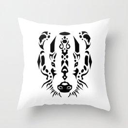 Tribal Badger Throw Pillow