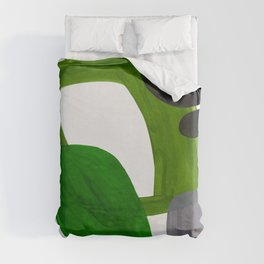 Mid Century Vintage 70's Design Abstract Minimalist Colorful Pop Art Olive Green Dark Green Grey Duvet Cover