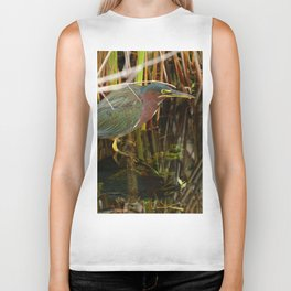 Beautiful Green Heron Biker Tank