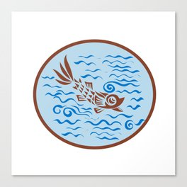 Medieval Fish Swimming Oval Retro Canvas Print