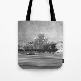 View from the Neva b&w Tote Bag