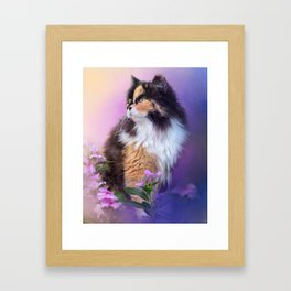 Calico Kitty In The Garden Framed Art Print