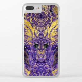 Abstract Amethyst  with gold marbled texture Clear iPhone Case