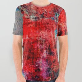 Modern  Red Abstract Design All Over Graphic Tee