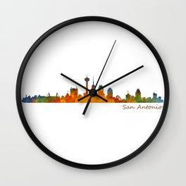 San Antonio City Skyline Hq v1 Wall Clock