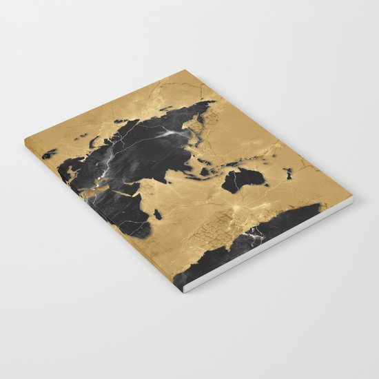 world map marble gold 2 Notebook