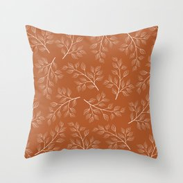 Delicate White Leaves and Branch on a Rust Orange Background Throw Pillow
