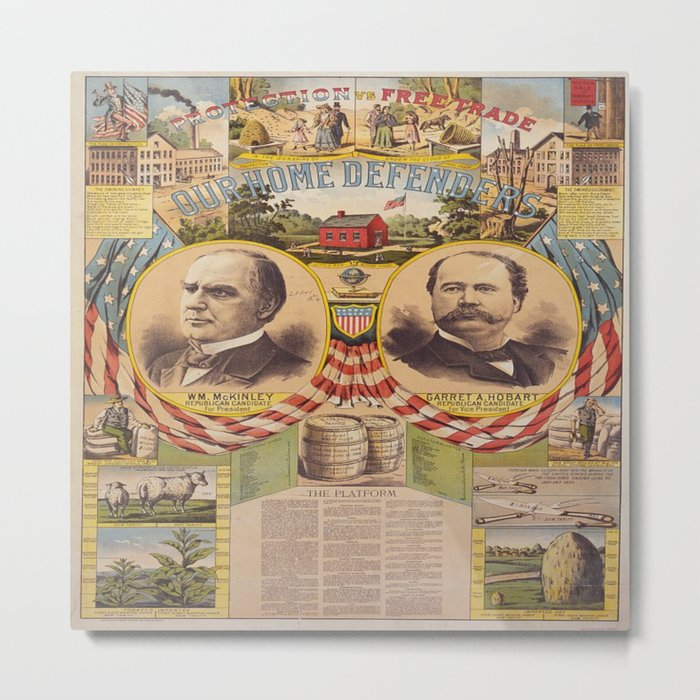 Mc. Kinley and Hobart Presidential Elections Vintage Poster 1896 Metal Print