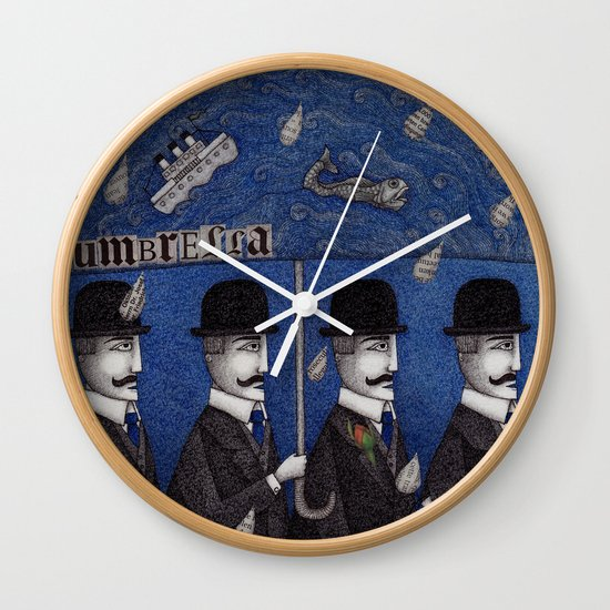 Four Men Waiting Wall Clock