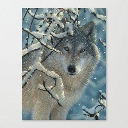 Wolf in Snow - Broken Silence Canvas Print
