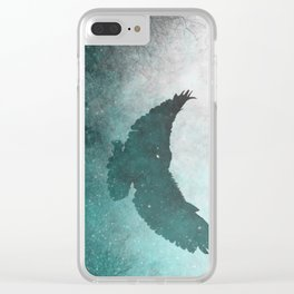 Owl Silhouette | Swooping Owl Ghost | Space Owl Clear iPhone Case