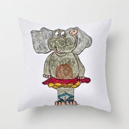 elephant in tutu Throw Pillow
