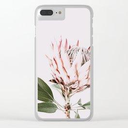 Protea, Flower, Leaves, Plant, Green, Scandinavian, Minimal, Modern, Wall art Clear iPhone Case