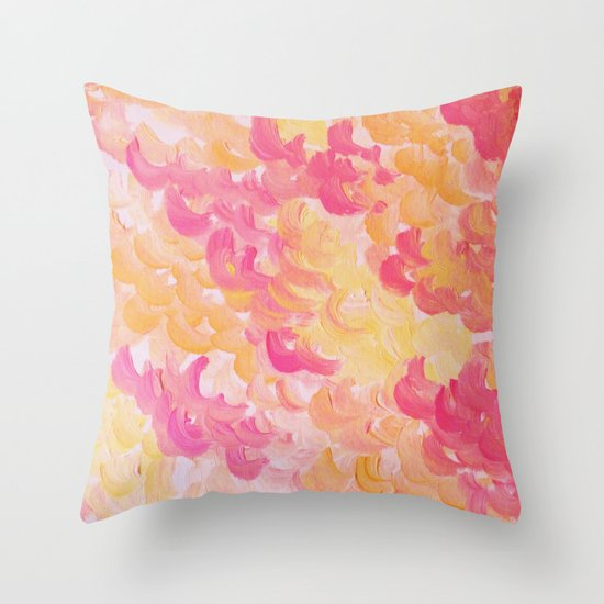PINK PLUMES - Soft Pastel Wispy Pretty Peach Melon Clouds Strawberry Pink Abstract Acrylic Painting  Throw Pillow