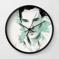 benedict cumberbatch Wall Clocks featuring Benedict Cumberbatch by charlotvanh