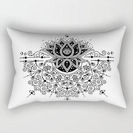 Lotus Blossom Mandala – Black Palette Rectangular Pillow