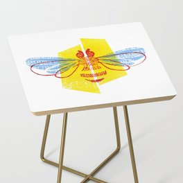 Be Safe - Save Bees linocut Side Table