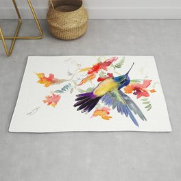 Hummingbird, floral bird art, soft colors Rug