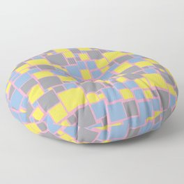 Yellow Gray Blue Pink Funky Mosaic Pattern V7 Color of the Year 2021 Illuminating and Ultimate Gray Floor Pillow