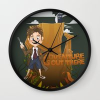 adventure is out there Wall Clocks featuring Adventure by BlancaJP