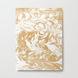 Suminagashi japanese spilled ink watercolor swirl marble pattern ocean gold and white minimalist art Metal Print