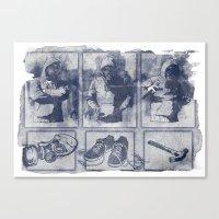 blueprint Canvas Prints featuring Vigilante Blueprint by Matthew Dunn