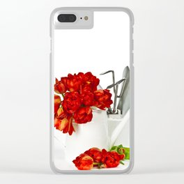 Fresh red tulips in white watering can and garden tools Clear iPhone Case